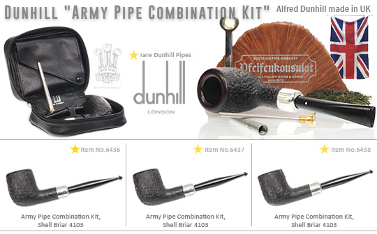 Dunhill Army Pipe Combination Kit, Shell Briar 4103, mit White Spot Ledertasche und Junior Pipe Gadget