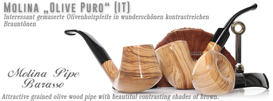 Molina Olive Wood Pipe Olive Puro - Attractive grained olive wood pipe with beautiful contrasting shades of brown.