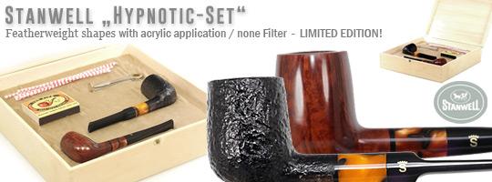 Stanwell Hypnotic-Set, 2 Billiard Pfeifen - glatt und sandgestrahlt - mit Stopfer, Reiniger und Z�nder