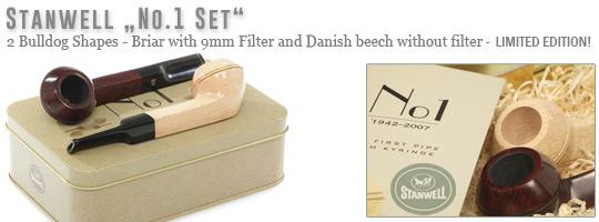 Stanwell No.1 Set, 2 Bulldog Shapes - einmal Bruyere mit 9mm Filter und einmal Buche mit Normalbohrung