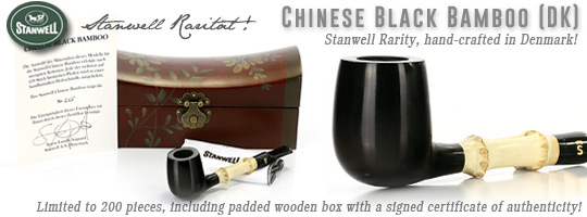Stanwell Chinese Black Bamboo Rarity! - In the German-speaking countries  limited to 200 pieces (450 wordlwide), including padded wooden box with a signed certificate of authenticity!