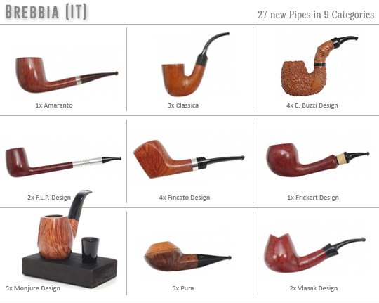 27 new Brebbia Pipes in 9 categories