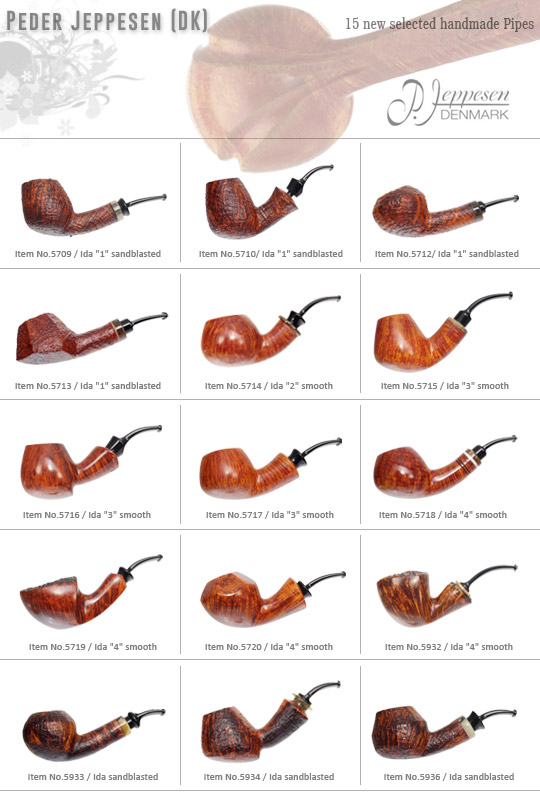 15 new Peder Jeppesen Freehand Pipes handcrafted in Denmark