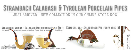 New Strambach Calabash & Tyrolean Porcelain Pipes