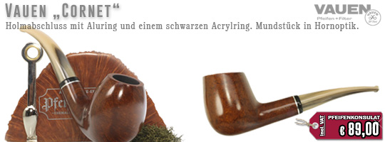 Vauen Cornet, Holmabschluss mit Aluring und einem schwarzen Acrylring. Mundst�ck in Hornoptik.