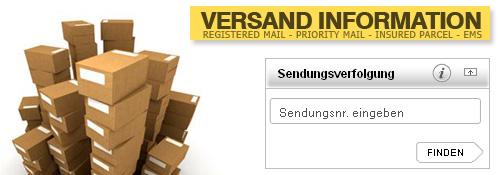 TRACK & TRACE für alle EMS oder Paket-Sendungen - Sie wissen immer, wo sich Ihre Sendung befindet - Die Sendungsnummer von unserem Versandmail genügt.